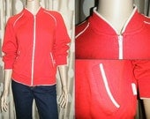 RESERVED FOR SHORTNSTOUT 70s Men's Zip Up Track Jacket - Red w/ White Piping, Size Medium