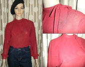 80s Burgundy Sheer Blouse  - Blouson Sleeve / Cape Collar, Size Small