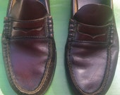 M 10.5 - 80s Men's Well-Worn Burgundy Penny Loafers