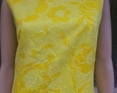60s Mod Yellow Shift Dress - Textured Floral Tapestry Print, Size Large