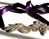 Purple and Rhinestone Ribbon Headband