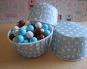 24 Light Blue Polka Dot Candy Nut Cupcake Cups