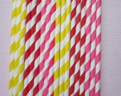 Hot Pink, Red, Yellow Paper Drinking Straws ~ Eco Friendly ~ Set of 24