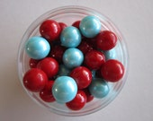 Circus Carnival Red & Aqua Candy Coated Cupcake Topper Sixlets