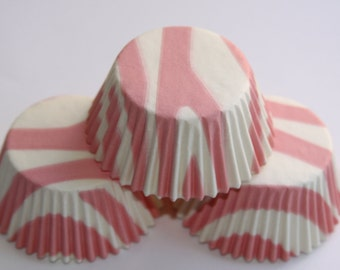 50 Light Pink and White Zebra Baking Liners