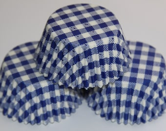 White and Blue Gingham Mini or Standard Cupcake Baking Liners