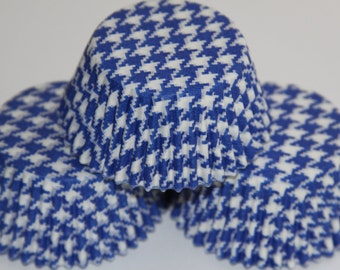 White and Blue Houndstooth Cupcake Standard Cupcake Baking Liners