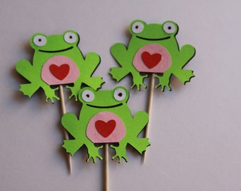 12 Frog Cupcake Pick Toppers