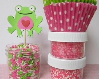Lime Green & Pink Frog Cupcake Kit