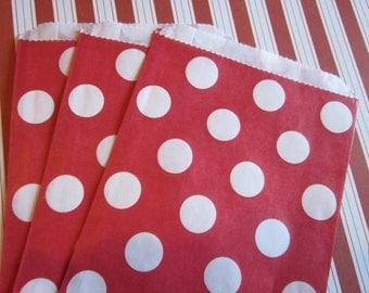 12 Red White Polka Dot Favor Bags