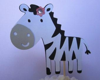 12 Black & White Striped Zebra Cupcake Topper Picks