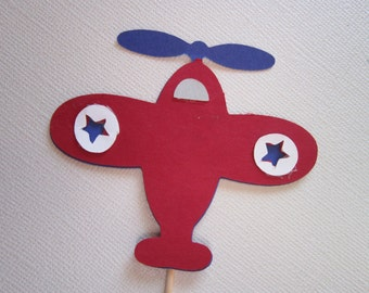 12 Red & Blue Airplane Cupcake Topper Picks