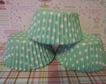 Light Green & White Polka Dot Standard Cupcake Baking Liners