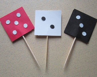 Red White Black Dice Cupcake Toppers ~ Appetizer Pick ~ Set of 12