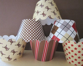 Brown & Red Sock Monkey Inspired Cupcake Wrappers ~ Set of 24 ~ Mini Size