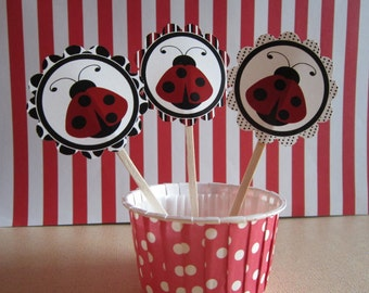 12 Red & Black Lady Bug Toppers