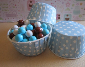 24 Light Blue Polka Dot Candy Nut Cupcake Cups