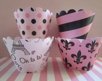 12 Hot Pink & Black Paris Cupcake Wrappers