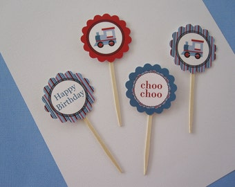 12 Red & Blue Train Cupcake Toppers
