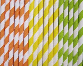 Orange  Yellow  Lime Green ~ Paper Straws ~ Party Straws ~ Drinking Straws