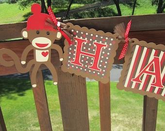 Sock Monkey Happy Birthday Banner