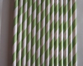 25 Light Green Striped Paper Drinking Straws