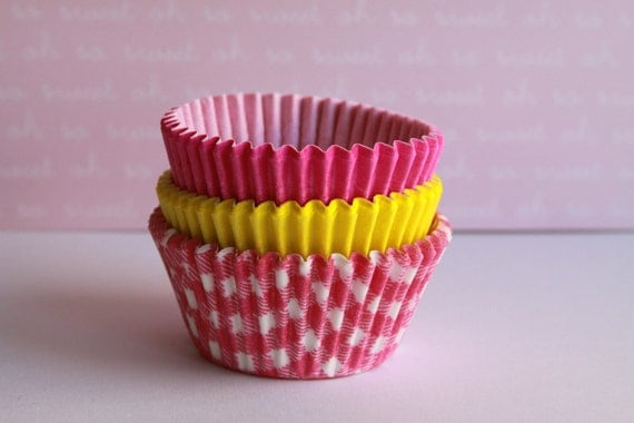 Pink Lemonade Cupcake Baking Liners Standard or Mini