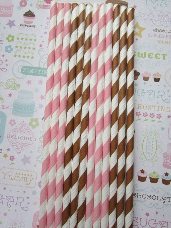 Light Pink & Brown Striped Paper Straws ~ Shower Straws ~ Drinking Straws ~ Set of 24