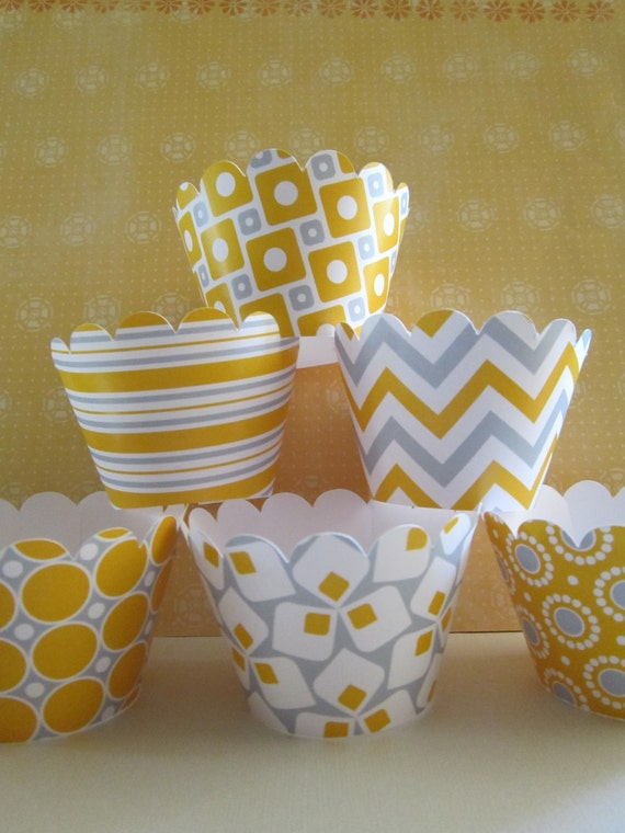 Yellow & Gray Cupcake Wrappers ~ Set of 12 Standard or 24 Mini