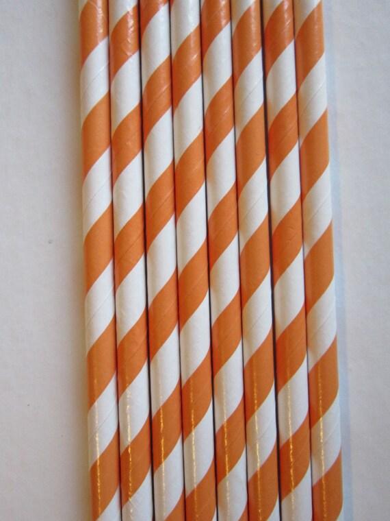 25 Retro Vintage Striped Orange Paper Straws