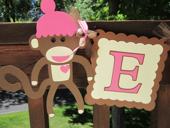 Pink / Brown or Pink / Gray  Sock Monkey Girl Name Banner