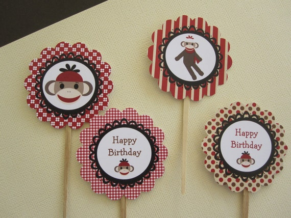 12 Red & Brown Sock Monkey Cupcake Toppers