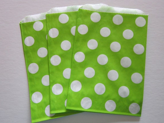 Lime Green Polka Dot ~ Party Bags ~ Favor Bags ~ Gift Bags ~ Set of 12