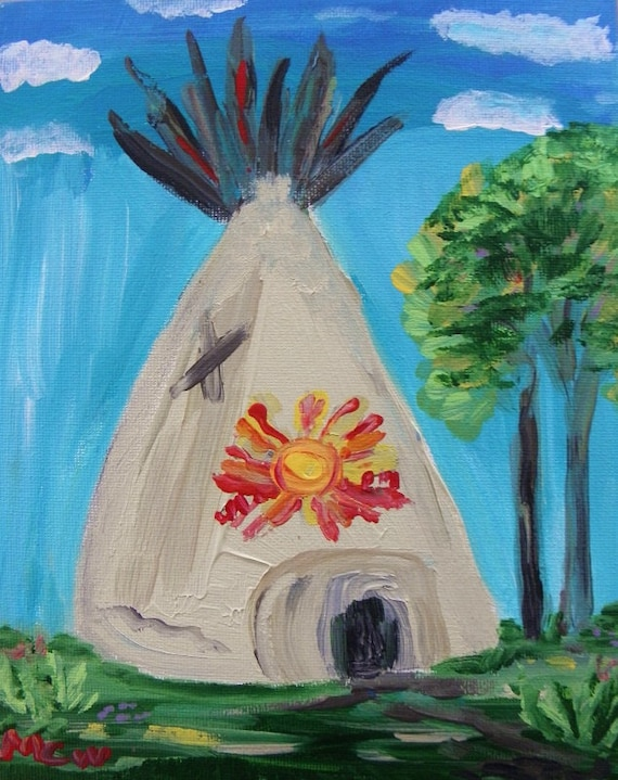 A Free Spirit Original Acrylic Teepee Painting Mary Carol Williams art MCW Self Taught Primitive Expressionism