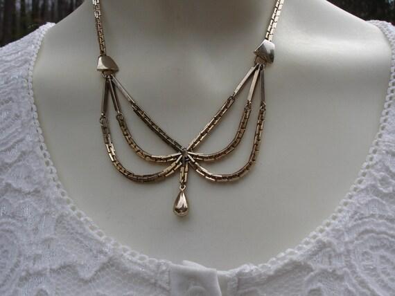 RESERVED...Vintage Necklace Goldtone with Drop