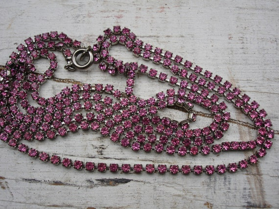 Extra Long Hot Pink Rhinestone Vintage Necklace