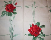 Vintage Shabby Wilendur Linen Red Rose Luncheon Tablecloth 36 x 32