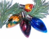 Tie-dyed Marbled Glass Holiday Christmas Ornament - Bulb Shaped