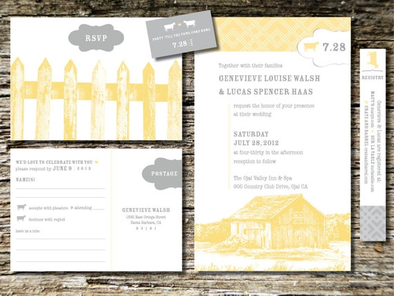 items similar to barn wedding invitations on etsy