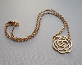 Gold Flower Pendant Necklace on a 16k Chain - Everyday Feminine Pretty Jewelry