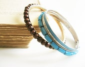 Metalic bangles with blue and wood beads bracelets- tribal rustic style