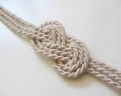 Ivory nautical rope bracelet- sailor's knot bracelet golden end caps
