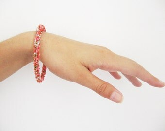 Pink slim beaded bracelet- romantic shabby chic bracelet- very delicate red and pink beads