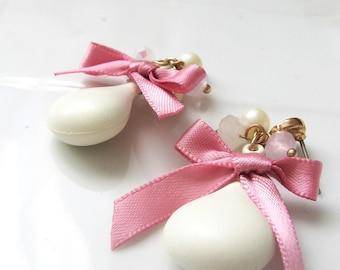 White drop earrings- white matte bead- pink bow- bride earrings