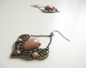 Art Deco chandelier earrings- dusty pink beads- antique brass- vintage wings  look
