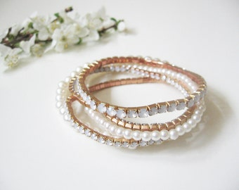 Bridal romantic pearl bracelet- rhinestone square crystals- round pearls- wedding