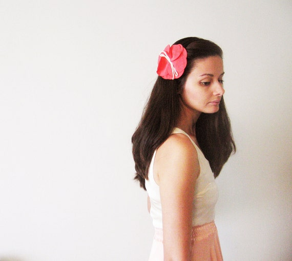 Fabric hair clip flower- coral peach lightsalmon color - big flower boho style