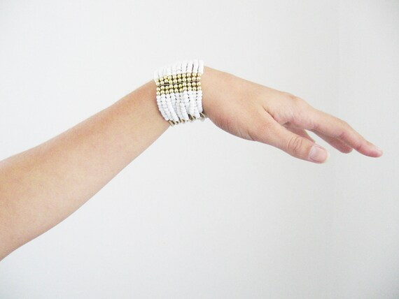 Beads bracelet-  white with golden accents- glamour shabby chic style cuff