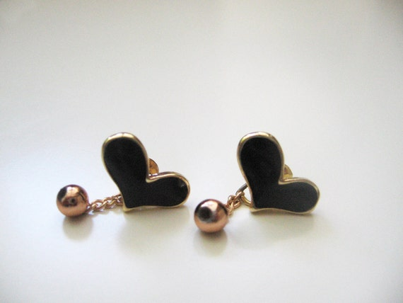 Small heart earrings- black and golden hearts- golden beads- dangle bead- shabby chic
