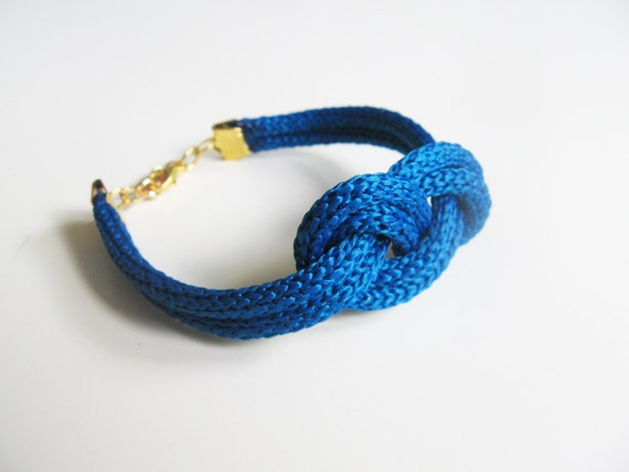 Blue navy rope bracelet- nautical cord sailor's knot bracelet with golden end caps